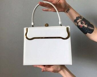 Vintage White Patent Leather Kelly Handbag