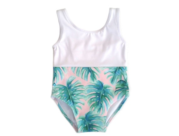 Palm Print Baby Girl Swimsuit Pink Palm Baby Bathing Suit