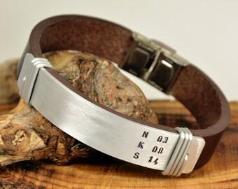 FAST SHIPPING, Men's Leather, Men Bracelet, Men's Silver Bracelet, Men's Gift, Men's Custom Jewelry, Father Days Bracelet, Handmade Bracelet