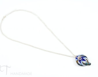 Murano glass blue feather pendant necklace - Made in Italy glass leaf pendant necklace unique gift for women