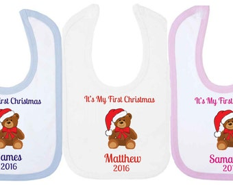 It's My First Christmas Personalised Baby Bib With Teddy Bear. Available in WHITE, PINK or BLUE