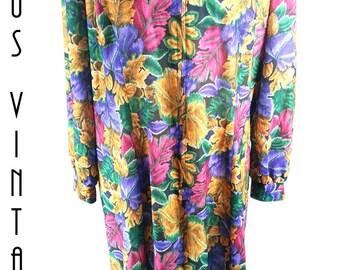 """Plus Size UK 30 Vintage 1970s Boho Dress A-line Floral Silky Zip Front EU 58 US 26 Bust 56""""  143cm"""
