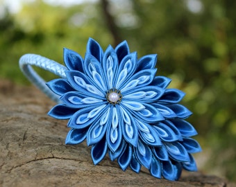 Blue headband Birthday gifts for girls Kanzashi flower headband Infant girl headband Photo prop baby accessories Pinwheel boutique hair bows