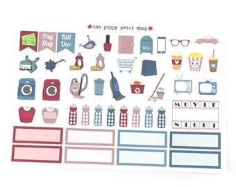 Berry Blossoms Decorative Functional Icon Planner Sticker Sampler - For use in Erin Condren, Happy Planner, Plum Paper, Kikki K