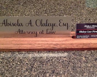 Desk Name Plate with Attached Business Card Holder