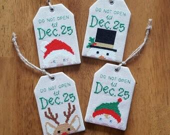 No Peeking! Christmas Tag ornament cross stitch - pattern only