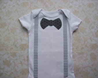 Baby boy clothes,Preemie,Newborn take  home onesie,Grey Gray Chevron suspenders,Infant,Easter Modern polka dot bow tie