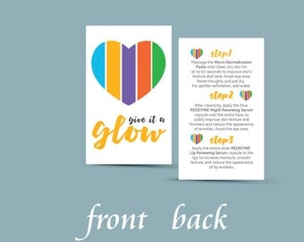 Rodan and Fields Mini Facial Card Give it a Glow Two-Sided INSTANT DOWNLOAD DIGITAL