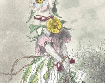 1847 Antique Grandville Les Fleurs Animees Eglantine Hand Colored Print Botanical Original