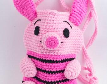 Handmade crochet bag, crocheted purse, pig purse