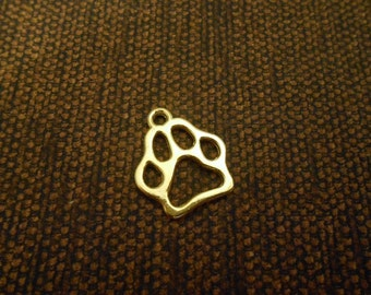 6 Gold Paw Pendants Paw Print Charms Paw Charms Dog Charms Pet Charms Animal Charms Paw Print Necklace Bracelet Earrings Charms Dog Jewelry