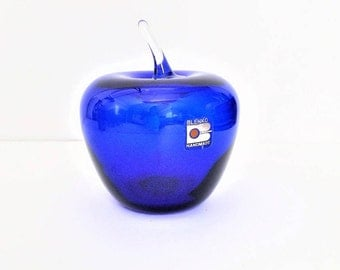 Blenko Cobalt Blue Glass, Hand Blown Glass Apple, Glass Art