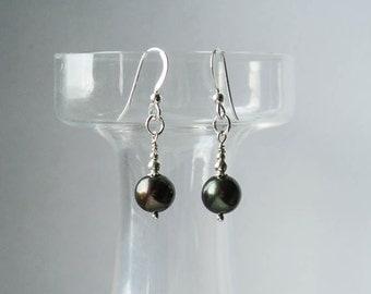 Simple Black Pearl Drop Earrings - Sterling Silver Earrings with Freshwater Pearls in Dark Olive Black