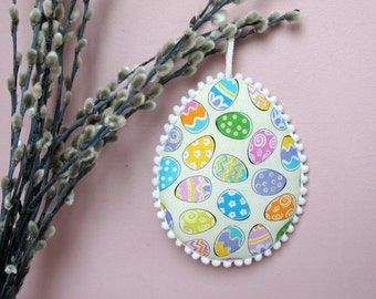 Hanging Easter eggs Easter tree ornament cute gift for Easter rainbow eggs print fabric hanging decoration pinkeep country cottage decor