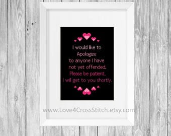 Heart Stitch Pattern Funny, Offensive Cross Stitch Pattern Modern, Funny Quote Cross Stitch Pattern PDF,  Easy Cross Stitch Pattern Pink