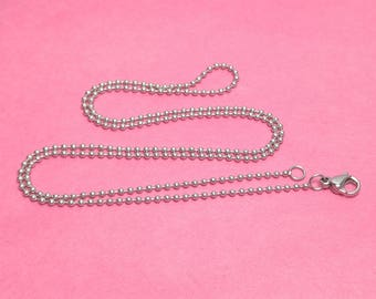 """18"""" 1.5mm Stainless Steel Ball Chain Necklaces WITH Lobster clasps - Package of 10 or 100 - Bulk Chains"""