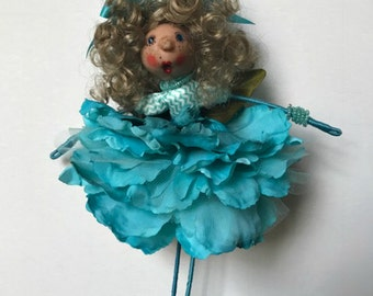 Flower Fairy, Fairy Doll, Turquoise Fairy Ornament, Flower Ornament, Flower Fairy Doll,