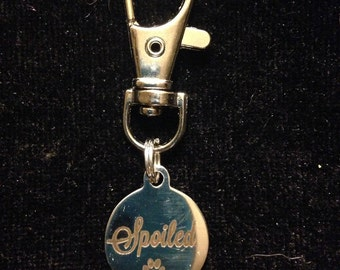 Spoiled Charm Jacket or Purse Zipper Pull with Large Lobster Swivel Matching Clasp, Silver Tone