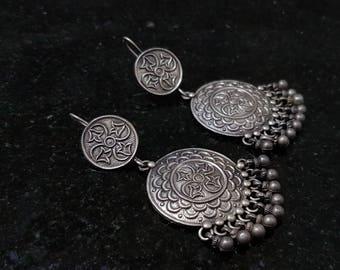 Silver earrings, Tribal silver earring, Long dangler earrings, Vintage Rajasthani earrings,Silver Long Earrings, Indian Earrings, Danglers