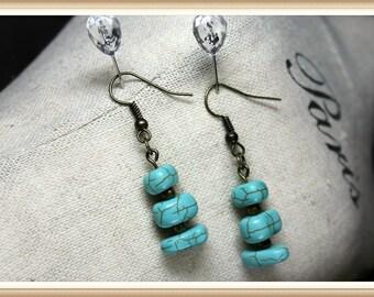 Bronze and Turquoise Pebble Style  Dangle Earrings