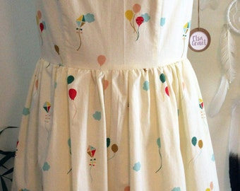 The Daily Dress/ Dress/Organic Cotton/ Cotton/ Print/ Cream/ Happy/ Sky/ Fit and Flare/ Handmade
