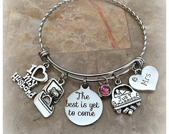 The Best Is Yet To Come Charm Bracelet, Just Married Charm Bangle, Gifts for Bride, Bride Charm Bracelet, Weeding Gifts