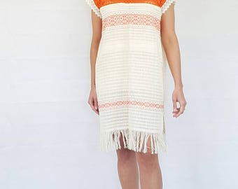 SALE!!! 20 was 25 Beach mexican minidress hand woven with romantic, femenine embroidery front, and  laces over the top. Loose fit
