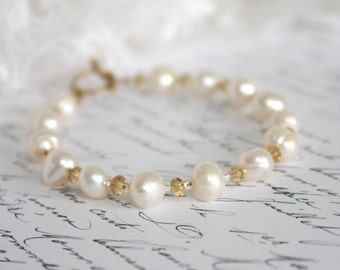 Irregular Freshwater Pearl Bracelet with Crystals and Seed Beads