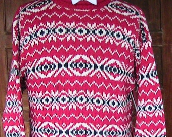 Large GAP Red and White Cotton Sweater