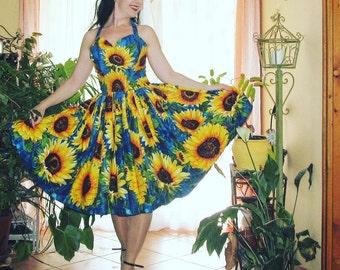 "Pinup dress ""Joy dress in Midnight Sunflowers""', floral rockabilly dress, border dress, gathered full skirt"