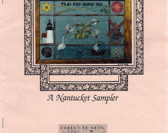 Forget Me Nots In Stitches ** A NANTUCKET SAMPLER ** Vintage Cross Stitch Sampler pattern from 1997