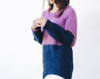 Knit mohair sweater boho oversized sweater sweater loose sweater chunky sweater wool sweater Circle Scarf purple mohair pullover jumper