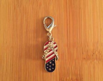 Patriotic Flip Flop zipper charm with key ring, Patriotic Flip Flop zipper pull, Flip Flop purse charm, Patriotic Flip Flop keychain