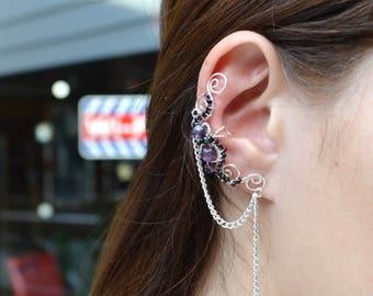 Cartilage Chain Earrings Amethyst ear wrap Bohemian ear cuff Dangle earrings Ear cuffs no piercing Amethyst stone jewelry  Gemstone earrings