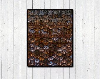 "DAENERYS TARGARYEN TYPOGRAPHY 11x14"" print, Game Of Thrones Print, Typograpgy Print, Christmas Gifts, tv and movies, Fantasy, Khaleesi"