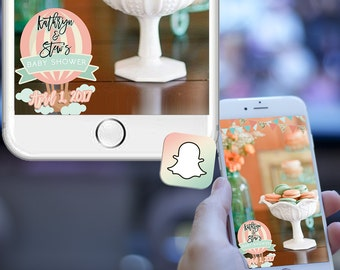 Hot Air Balloon Snapchat Filter - Balloon Baby Shower - Pastel Party - Custom Names & Date - Bunting Banners - Peach, Mint Gold Glitter