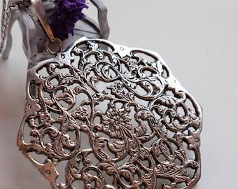 Vintage Silver Art Nouveau Necklace Jugendstil Silver Necklace Vintage Statement Necklace 1920s Jewelry 1920s Silver Statement Necklace