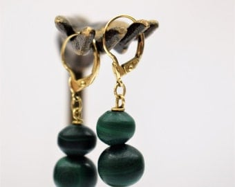 Vintage Art Deco 14k Gold Earrings Malachite Earrings Vintage Art Deco Malachite Drop 1920s Jewelry Green Stone Earrings