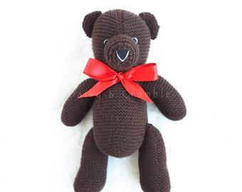 Teddy bear-handmade toy-plush bear-hand knitted bear-knit toy-stuffed handmade teddy bear-baby newborn gift-baby photo prop-READY TO SHIP