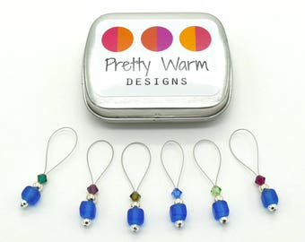 Blue Knitting Stitch Markers - Stitchmarkers - Knitting Markers - Stitch Marker Set - Snag Free Stitch Markers - Progress Keepers - Knitting