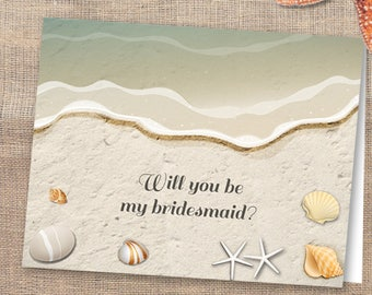 Printable Water's Edge Shells and Sand Beach Will You Be My Bridesmaid or Thank You Greeting Card, Editable PDF, Instant Download