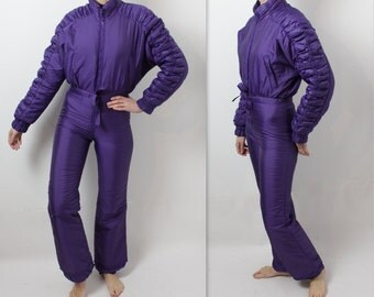 Purple Ski Suit One Piece Jumpsuit Womens Ski Suit Hipster Sportswear Snowboarding Activewear Lavender Snowsuit  Vintage Winter Overall