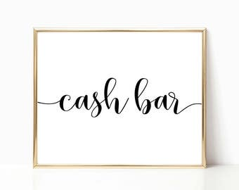 cash bar sign wedding bar sign wedding sign reception sign printable sign