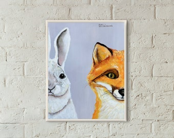 Nursery decor Nursery Fox Nursery wall art Woodland Animals Kids gift Kids room decor Nursery print Kids print Kids Rabbit Bunny