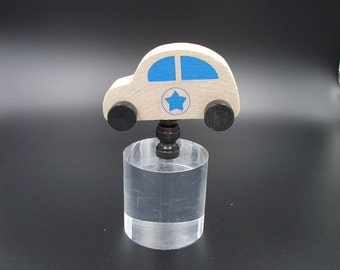 Custom Lamp Finial with a  Child's Wooden Toy Police Car