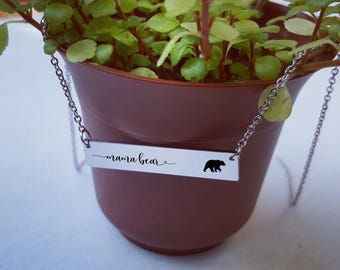 Mama Bear Necklace Gift for Mom Bar Necklace Personalized Necklace Jewelry Rose Gold Silver Engraved Mother Gifts for Her Gifts for Friends