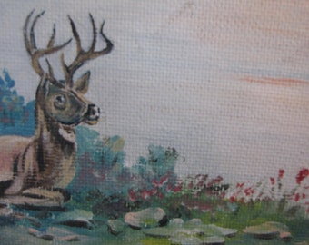 Vintage Lake Oil Painting/ Original Oil Painting/ Deer Painting/Camp Decor