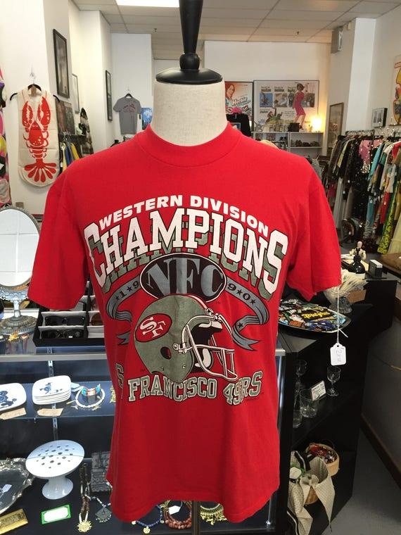 Vintage 1990 San Francisco 49ers Tee T-Shirt Sz L Western Division Champs 1990