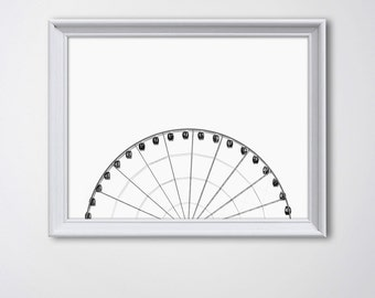 Ferris Wheel Print • Ferris Print Minimalist Photography Minimalist Art Print Carnival Wheel Poster Ferris Wheel Decor Carnival Art Print