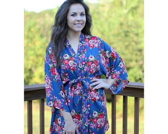 Floral Bridesmaid Robes, Blue Floral Robe, Bride Robe, Getting Ready Robe, Cotton Floral, Personalized Wedding Robe Mother of the Bride Gift